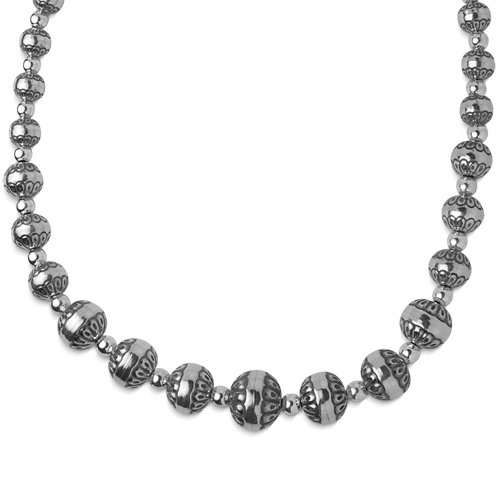 Sterling Silver Native Pearl Graduated Bead Necklace - 18'' by American West