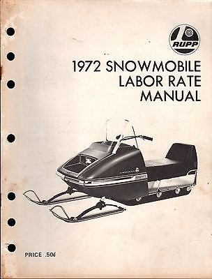 1972 RUPP SNOWMOBILE LABOR RATE MANUAL (Motorcycle Labor Guide)