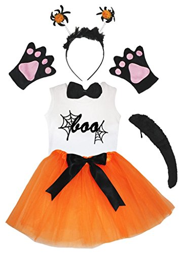 Petitebella BOO Shirt Spider Headband Glove Bowtie Tutu 6pc Costume (3-4 Years)