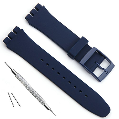 Ultra-Thin Replacement Waterproof Silicone Rubber Watch Strap Watch Band for Swatch Skin Series (16mm, Navy Blue)