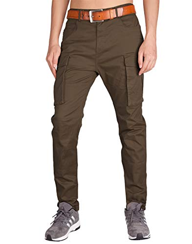 ITALY MORN Men's Chino Cargo Two Bellows Casual Pants 38 Coffee