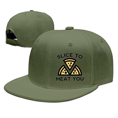Bhfadso Slice to Meat You Adjustable Hat Flat Along Baseball Flat Cap Black for Unisex