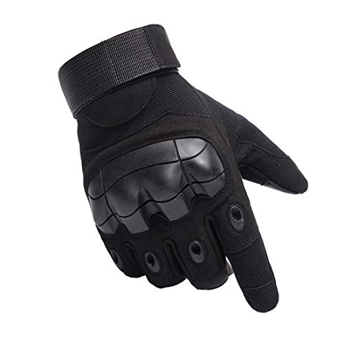 Qeedy Airsoft Paintball Gloves Men Tactical Gloves for Hiking Cycling Motorcycle Hunting Shooting Climbing Outdoor Camping Sports (Black, M)