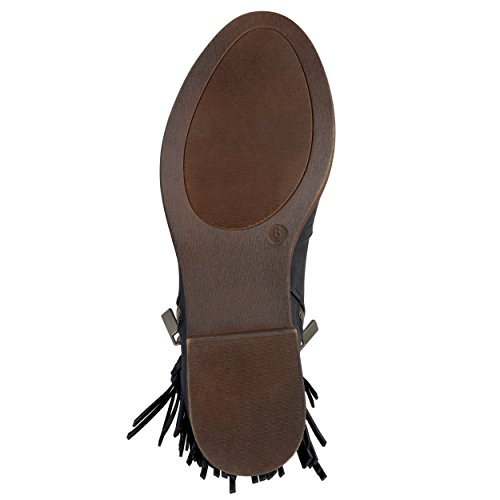 Fringed Almond Journee Journee Toe Collection Collection Booties Womens Black Riding nRqB4wY