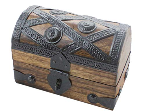 Axventari Mini Pirate Treasure Chest Wood Keepsake Jewelry Box Toy 5.5x3x3.25 Small