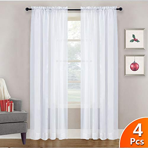 NICETOWN 4 Panels Sheer Curtains 95 - Plain Tulle Voile Panel Window Drapes/Draperies Set for Hall (4 Pieces, W60 x L95, White) (Sheers Window Panels)