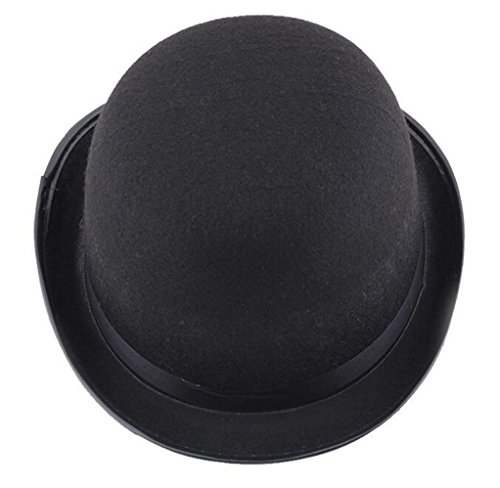 LFHT Black Hat Felt Bowler Hat Dress Up Costume Accessory