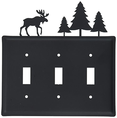 8 Inch Moose and Trees Triple Switch Cover from Village Wrought Iron