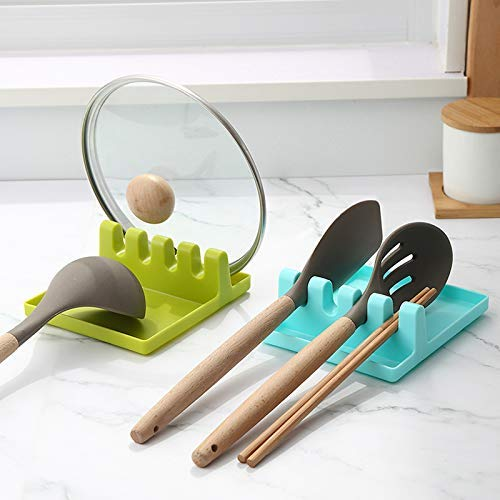 AXEVU 2 Pcs of Spatula Spoon Fork Holder    Plastic Kitchen Utensil Drainer Rack    Chopstick, Spoons Rests Stand & Lid…