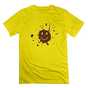 SUSS Men's Forrest Gump Smiley Face With Mud Splatter T-shirts XXL Yellow
