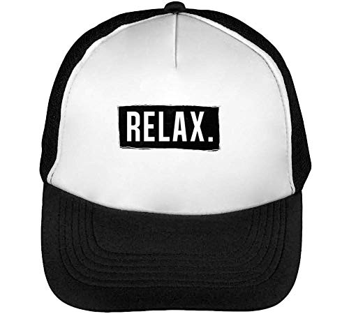 Beisbol Relax Gorras Negro Snapback Blanco Hombre UaqtqY