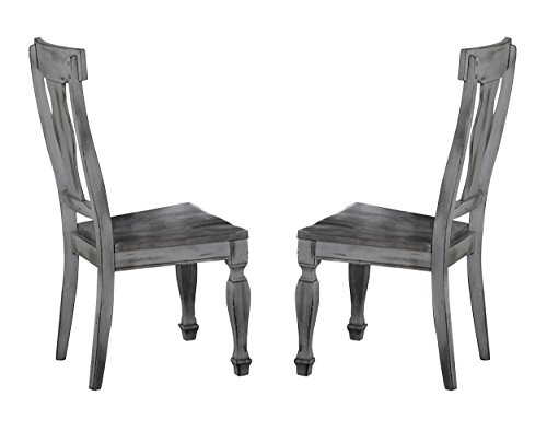 Homelegance Fulbright Dining Chairs with Urn Style Back and Turned Legs (Set of 2), Antiqued Gray