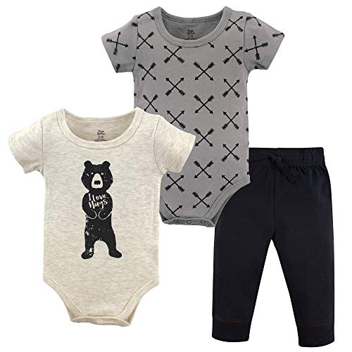 Yoga Sprout Bodysuit and Pant 3 Piece Set, Bear Hugs, 6-9 Months