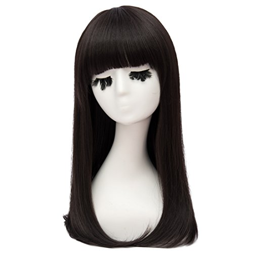 Ono Yoko Halloween Costumes (Netgo Black Ainme Cosplay Wigs Long Straight for Women Heat Resistant Costume Halloween Wigs for Ai-Enma)