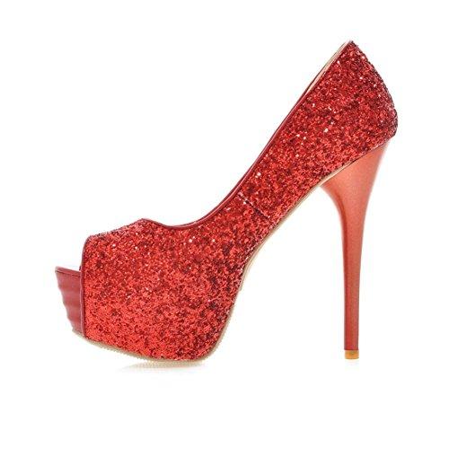 Frauen Absatz Peep Toe Pailletten Plattform Rote Pumps der Schuhe Damen Rot