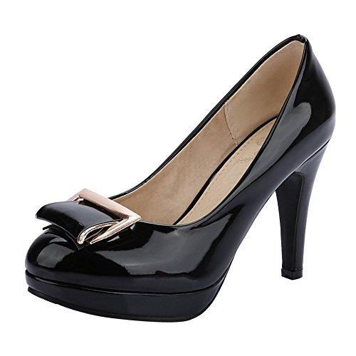 Carolbar Para Mujer De Charol Vestido De Plataforma De Zapatos De Tacón Alto Bombas Zapatos Negro