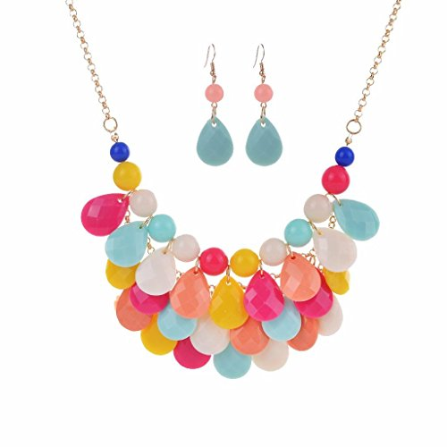 Layer Necklace Set - SEKAISORA Women's Fashion Hot Sale Multi-layer Drop Necklace Set Color