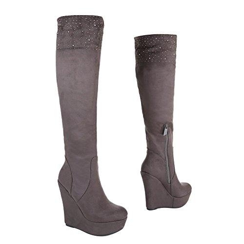 Ital-Design Keilstiefel Damenschuhe Plateau Keilabsatz/Wedge Keilabsatz Reißverschluss Stiefel Grau