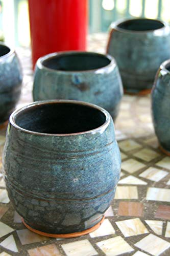 Hand Thrown Pottery Stemless Wine Glass in Slate Blue from Page Pottery