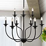 LALUZ 9 Farmhouse Light Fixture, Black, 2-Tier 9-Candle, French Country Chandelier Metal Pendant Hanging for Kitchen Island, Living Rooms
