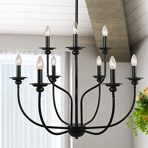 LALUZ 9 Lights French Country Metal Chandelier 2-Tier Dining Room Fixture in Painted Black Finish, Vintage, 30