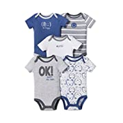 Lamaze Baby Organic Essentials 5 Pack Shortsleeve Bodysuits, Grey Bear, 3M