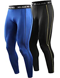 Neleus Men's 2 Pack Compression Pants Workout Tights