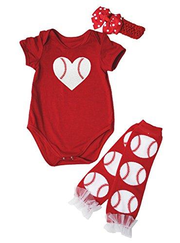 Baby Girl Baseball - Hot Red Baseball Print One Piece Bodysuit Leg Warmer Baby Set Nb-24m (0-3month)