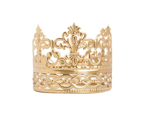 Gold Crown Cake Topper, Vintage Crown, Small Gold Wedding Cake Top, Princess Cake, The Queen of Crowns (Gold Ivy) (Crown Topper Cake Wedding)