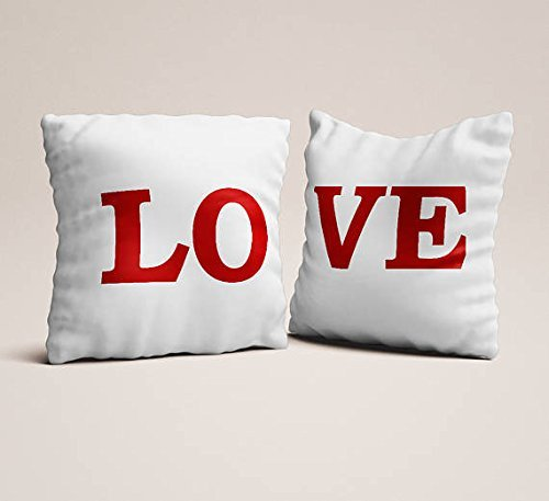Set of 2 love red white pillowcases,Throw pillowcases, couples gift for engagements love seat pillow case wedding gift modern throw pillow cover (Vacation Script National Lampoons Christmas)