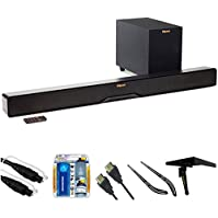 Klipsch Reference 2-Way Soundbar with Wireless 6.5  Subwoofer (R4B) with 6ft 5.0mm Audio Cable, TV/LCD Screen...