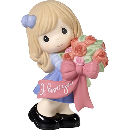 Precious Moments 172003 I Love You Girl with Flower Bouquet Bisque Porcelain Figurine, One Size, Multi ()
