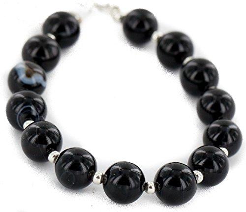 $80 Retail Tag Authentic Silver Navajo Natural Black Onyx Native American Bracelet -