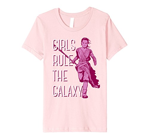 Kids Star Wars Episode 7 Rey Rule The Galaxy Premium T-Shirt 10 Pink (Lightweight Reyes Jersey)