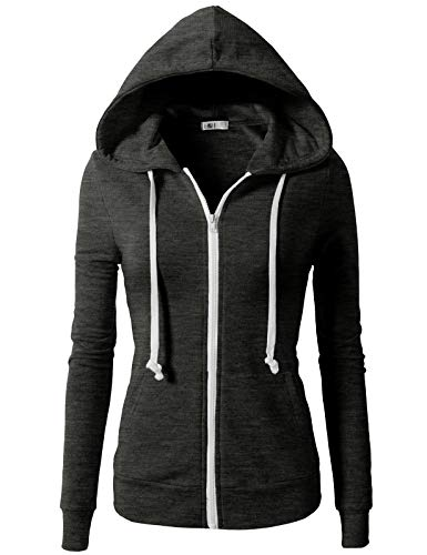 (H2H Womens Active Regular Fit Zip Up Long Sleeve Hoodie Jacket Charcoal L (CWOHOL020))