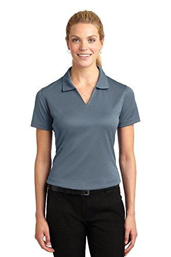 - Sport-Tek Ladies Dri-Mesh V-Neck Polo Shirt, M, Steel