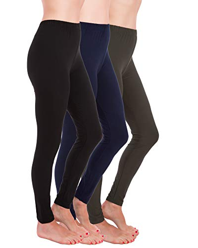 Homma Premium Ultra Soft High Rise Waist Full Length Regular and Plus Size Variety Pack Leggings (XL/2XL, Black,Navy,Charcoal) -