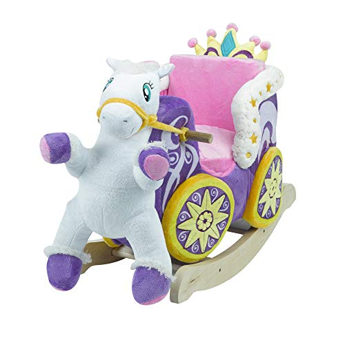 Princess Carriage Play and Rock | Horse Plush Butterfly Baby Toy with Wooden Rocking Chiar Horse/Kid Rocking Toy/Baby Rocking Horse/Rocker/Animal Ride