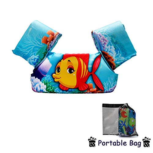 Elejolie Child Life Jacket, Learn to Swim Aid Floatation Life Vest for Kids,Toddlers Swim Safty Aid (22-66lbs)(Clown Fish)