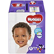 HUGGIES LITTLE MOVERS Diapers, Size 6 (35+ lb.), 104 Ct, ECONOMY PLUS (Packaging May Vary), Baby Diapers for Active Babies