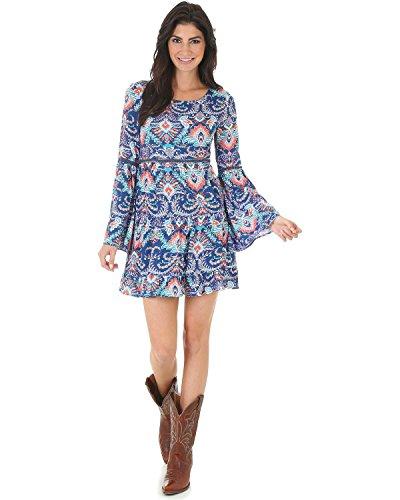 Crochet Inset Skirt (Wrangler Women's Rock 47 Navy Print Crochet Inset Dress Navy Medium)