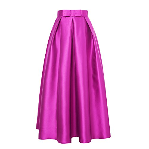 Organza Strapless A-line Skirt (ISYITLTY Women's High Waist Solid Pleated A-line Maxi Party Skirts Purple S)