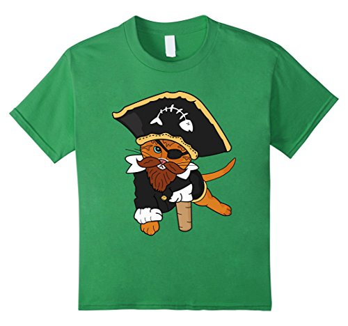 [Kids Funny Pirate Cat T-Shirt 8 Grass] (Grumpy Cat Costume Ideas)