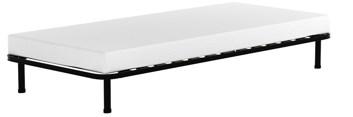 EvergreenWeb - Somier Individual 90x200 de Láminas de Madera y Estructura Portante de Hierro Reforzada con 4 Pies Extraíbles, Ortopédico, Base ...