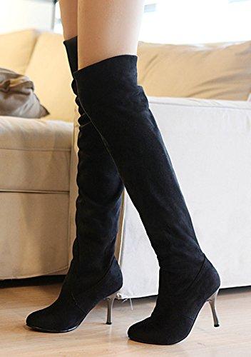 Idifu Vrouwen Gekleed Stretchy Stiletto Faux Suede Over De Knie Laarzen Dij Booties Hoge Hakken Zwart