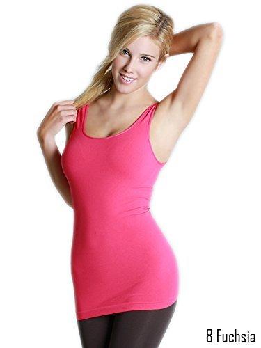 Nikibiki Women's Seamless Spandex Regular Wide Strap Tank-Fuchsia(#8)