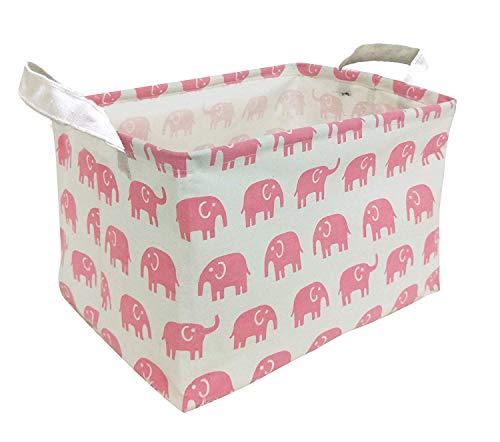 Canvas Toy Storage, Cotton Storage Basket Nursery Hamper Laundry Basket Storage Bag by VC Life (Pink Elephant)