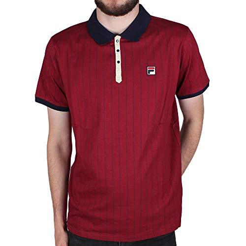 (Fila Vintage BB1 Classic Stripe Polo Shirt Tibetan Red/Peacoat/White Medium Tibetan Red/Peacoat/White )