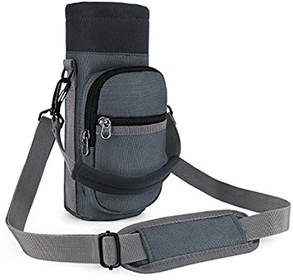 Water Bottle Carrier Pouch Holder Hand Strap 2 Pockets 16-40oz Hiking Travel NEW
