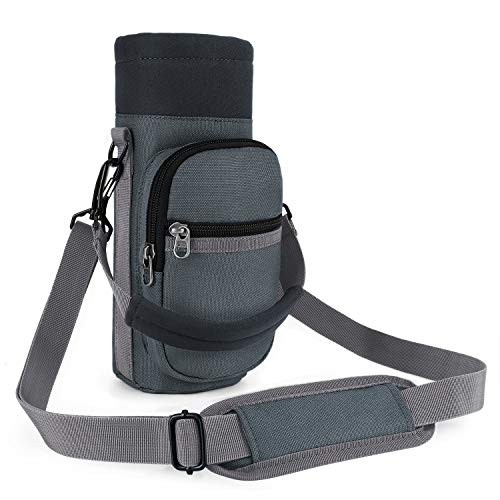 Barbarians Water Bottle Carrier, Bottle Pouch Holder with Adjustable Shoulder/Hand Strap 2 Pockets for Swell Type Bottle 16oz 17oz 20oz 24oz 25oz 32oz 40oz, Suitable for Hiking Travel Camping Gray